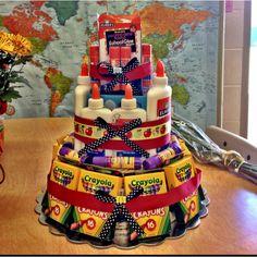 School supply cake: great gift for new teachers