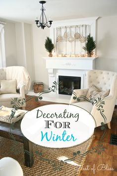 How to Decorate for Winter - Winter Living Room Winter Home Decor, Winter House, Winter Decorations, Winter Living Room, Home And Living, Home Decor Accessories, Apartment Living, Furniture Makeover, Seasonal Decor