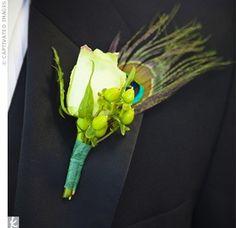 Peacock Wedding ~ Boutonniere  #peacock #wedding #boutonniere  @WedFunApps wedfunapps.com ♥'d