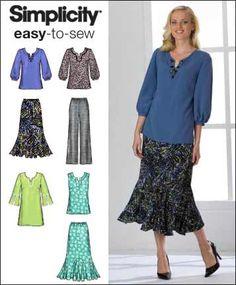 Además patrón de costura de tamaño ~ mujeres Top túnica pantalón y falda 5 tamaños simplicidad 2737