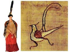 This embroidered bird - executed in silk thread on silk fabric - was found in the burial of a Pazyryk woman on the Ukok plateau in Altai mountains of Siberia. It dates to ca.500 BCE and survives because the tomb was dug into the permafrost. The picture on the left is a depiction what the outfit of the woman in the burial looked like.
