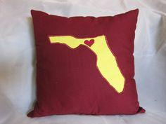 Florida Pillow with Heart - FSU Seminoles