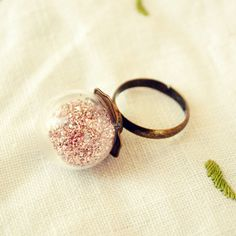 Glass Globe Ring containing Pink German by DearDelilahHandmade