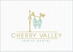 Logo for sale: Natural and elegant street sign post with a stylized dental molar tooth hanging from the signage. The logo emits class and sophistication, respective of a homey and quaint country setting.