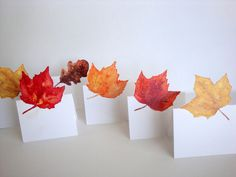 Autumn Leaf Small Place Card Table Number card by evLienDesigns, $115.00