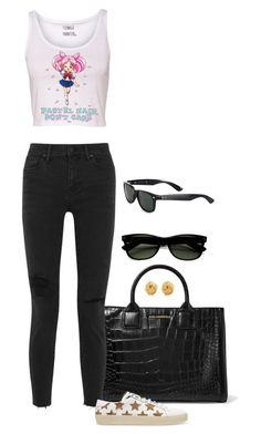 'Pastel Hair Don't Care' by foreverforbiddenromancefashion on Polyvore featuring Madewell, Yves Saint Laurent, Karl Lagerfeld, Tiffany & Co. and Ray-Ban