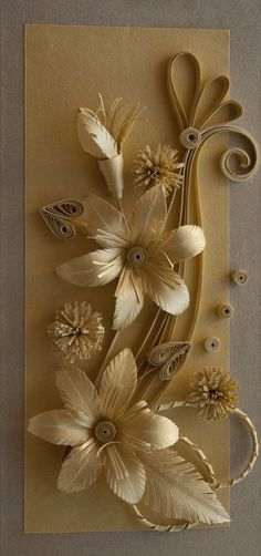 Gold Quilled Flowers - by: Neli