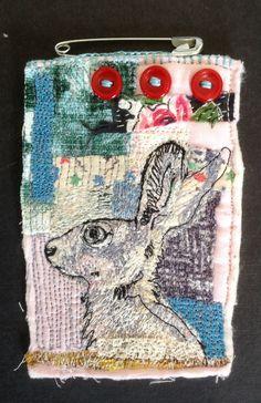 Little Red Button Hare embroidered brooch. mrsbertimus.blogspot.com