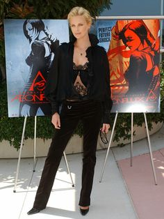 Charlize Theron Style: Charlize Theron wore the pants (a Jason Wu pantsuit, that is) for the GLAAD Media Awards.  : In September 2003, Charlize Theron attended a press event in London in a pink top and low-cut jeans. : Charlize Theron showcased her gams at a Snow White and Hunstman event in Berlin back in May 2012. : Charlize Theron struck a statuesque post to promote Aeon Flux in 2005.