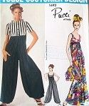 1960 Mod PUCCI Palazzo noche o descansar mono o pijamas Vogue Couturier Diseño 1692 chaqueta corta de cultivos Gran Dress Pant partido de tarde del busto 34 del patrón de costura de la vendimia