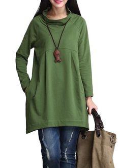 Green Long Sleeve Cowl Neck T Shirt on sale only US$24.31 now, buy cheap Green Long Sleeve Cowl Neck T Shirt at liligal.com