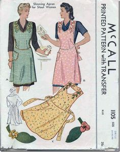 SLIMMING Apron Pattern McCALL 1105 Classic Kitchen Apron Includes Applique Transfers Bust Vintage Sewing Pattern-Authentic vintage sewing patterns: This is a fabulous original dress making pattern, not a copy. Because the sewing patte Vintage Apron Pattern, Aprons Vintage, Vintage Sewing Patterns, Retro Apron Patterns, Dress Patterns, Dot Patterns, Clothes Patterns, Apron Designs, Dress Designs