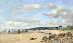 Eugène BOUDIN (Eugène Louis Boudin) Plage en Normandie (France, 1824-1898)  #Normandie