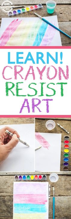 Crayon resist art! A simple but fun way to create a magic art piece by coloring first with crayons and then painting, allowing the hidden drawing or message to come through!