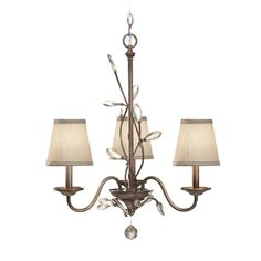 Feiss Lighting Chandelier with Amber Shades in Arctic Silver Finish   F2695/3ARS   Destination Lighting