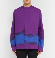 An alumnus of the Royal Academy of Fine Arts in Antwerp, Mr <a href='http://www.mrporter.com/mens/Designers/Haider_Ackermann'>Haider Ackermann</a> is renowned for his avant-garde aesthetic. This purple shirt is cut in an oversized silhouette from sleek cotton and printed with a bold splash of blue. The wide, button-free cuffs and minimalist grandad collar add to its contemporary appeal.