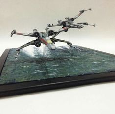X wing with diorama water effect