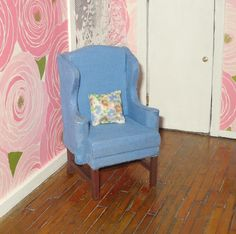 Dollhouse miniature vintage upholstered wingback by BNminiatures, $15.00