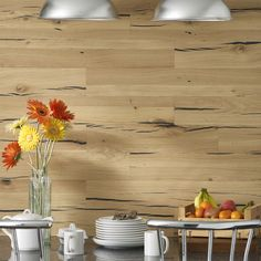 'SÄNTIS SPLIT' takes inspiration from solid oak beams, where rustic cracks are specifically accentuated with black filling. Reclaimed Wood Wall Panels, Wood Panel Walls, Timber Planks, Interior Architecture, Interior Design, Commercial Interiors, Real Wood, Solid Oak, Bamboo Cutting Board