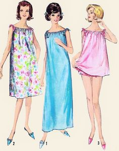 (( For Lauren, far right ))) 60s Nightgown Lingerie Pattern Baby Doll Shortie Pajamas Drawstring Neckline, Size Medium, Bust 34-36 Simplicity 5753 Vintage Sewing Pattern FACTORY FOLDED