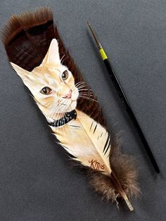 Realistic pet-portraits on a surprising canvas art - babamai Feather Painting, Feather Art, Arte Coral, Feather Crafts, Art Activities For Kids, Realistic Paintings, Cat Drawing, Types Of Art, Cat Art