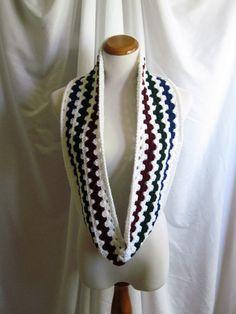 Infinity Scarf Cowl Crochet  White Navy & by CrochetCluster