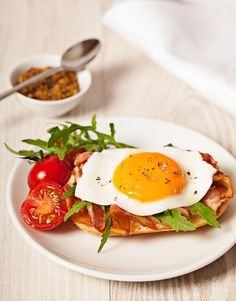 Check out Fried egg sandwich breakfast meal