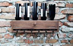 Wine rack, Wall mounted wine holder, Minimalist, Rustic & functional design, #avartwood Wine Rack Wall, Knife Block, Wall Mount, Minimalist, Rustic, Unique Jewelry, House, Etsy, Vintage