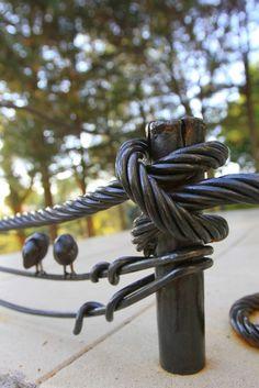 Garde corps - Corde en fer forgé + oiseaux ferronnerie d'art