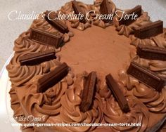 Most shared German Chocolate Cream Torte! Check out http://www.quick-german-recipes.com/chocolate-cream-torte.html