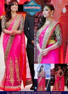 yami gautam Pink Net Saree