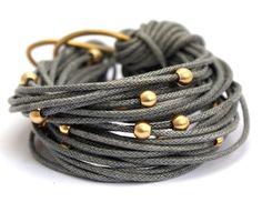 Bracelet, multi-cord bracelet, grey waxed cord bracelet, brass bracelet, stackable bracelet, jewellery by Tmlccreations on Etsy