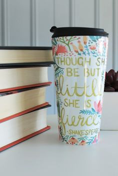Read on, bookworms. Even little books can be fierce, just ask Shakespeare. Love this pretty travel mug (also on scarves and prints) by Cat Coquillette on Redbubble.