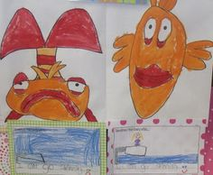 Oceans of Fun! If y'all are looking for an adorable story to read, Pout Pout Fish is it!  We fell in love with this story.  The kids wanted me to read it over and over.  If you read it you might want to try using the voice of Eeyore for the Pout Pout fish character.  :)   After reading the story a GAZILLION times we did a directed drawing of the main character and then wrote about our text to self connections.