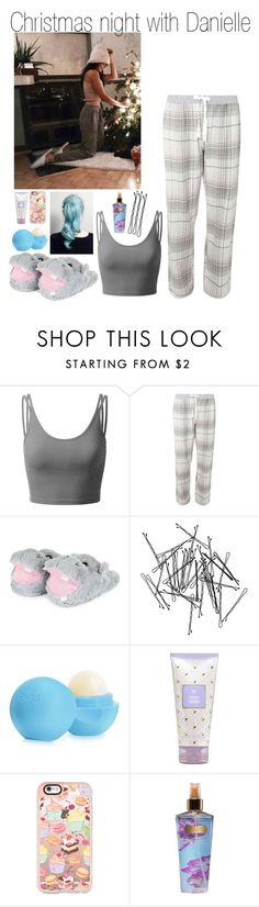 """Christmas night with Danielle"" by littleharmonythedirection ❤ liked on Polyvore featuring Doublju, Dorothy Perkins, Monki, Eos, Casetify and Victoria's Secret"