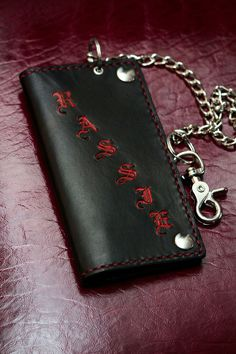 Best and Toughest Custom Biker Wallet | Chain Wallet | Long Wallet | Roper Wallet | Cell Phone Wallet Case by Skid at GodSkin Custom Leather