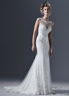 Sottero and Midgley by Maggie Sottero Glamorous tulle paired with intricate pearls and embellishments create this perfectly romantic sheath wedding dress, with a stunning illusi Lace Wedding Dress, Wedding Dresses For Girls, Perfect Wedding Dress, Wedding Dress Styles, Designer Wedding Dresses, Bridal Dresses, Wedding Gowns, Bridesmaid Dresses, Prom Dresses
