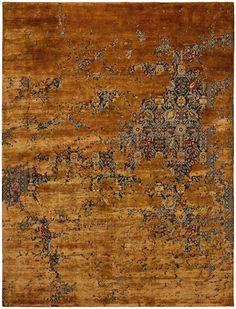 Tabriz Canal Aerial COLOR: navyblue / copperwire silk MATERIAL: wool / silk  - extraordinary rugs by JAN KATH