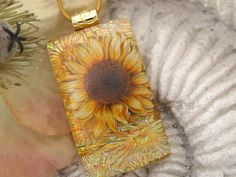 Dichroic Jewelry - Dichroic Pendant  - Sunflower - Golden - Dichroic Fused Glass Jewelry - Fused Glass -  Pendant & Necklace 092712p102. $26.00, via Etsy.