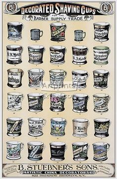 Decorated Shaving Cups for the Barber Supply Trade - Art Print