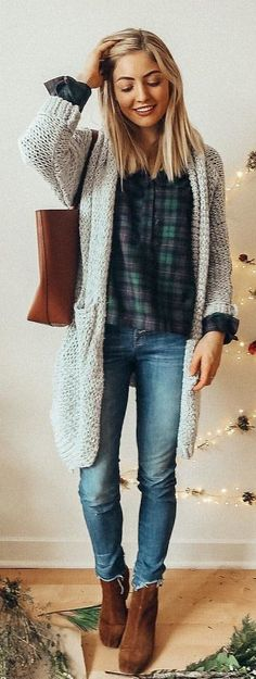 #winter #outfits gray open cardigan