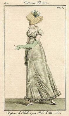 A green check gown, 1812 Costume parisien. Aunque sea de un par de años antes, creo que podría encajar. Me encanta la tela y el escote