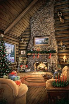 Inspiring Rustic Christmas Fireplace Ideas To Makes Your Home Warmer 30 Christmas Scenes, Christmas Past, Cozy Christmas, Country Christmas, Christmas Pictures, All Things Christmas, Xmas, Illustration Noel, Christmas Illustration