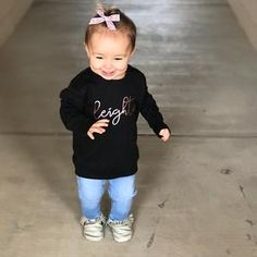 XS S M L XL Width, in Length, in Sleeve length, in Metallic, gold foil writing! A special selection of soft-style yarns keeps this sweater feeling great with every touch. Cute Baby Gifts, Toddler Outfits, Customized Gifts, Kids Shirts, Cute Babies, Perfect Fit, Monday Funday, Infants, 3 Years