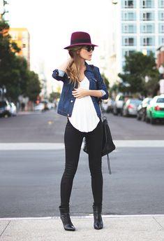 burgundy hat + black skinnies + denim jacket