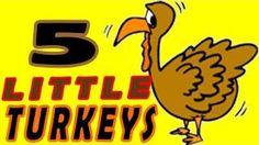 five little turkeys sitting on a fence - YouTube