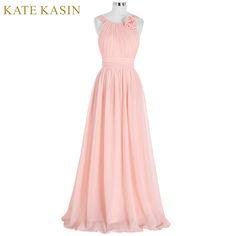 우아한 핑크 들러리 드레스 긴 쉬폰 Vestido 드 페스타 드 Casamento 비치 들러리 드레스 2017 웨딩 공식적인 드레스