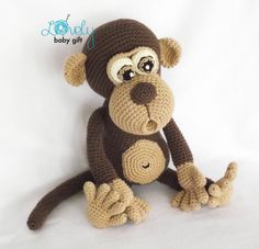 This is a DOWNLOADABLE PATTERN and NOT the monkey toy.  Pattern is written in ENGLISH (in US terms), DANISH, DUTCH, GERMAN, FRENCH and Spanish languages.  This amigurumi monkey toy is easy to make, if you know all the basic crochet terms: - crocheting in rounds - chain, slip, single crochet, double crochet stitch - increasing and decreasing  Tutorial comes with lots of photos illustrating the process to help you.  Pattern can be made with sport or worsted weight yarn. The finished monkey…
