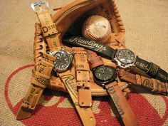 Making watchstraps from old baseball gloves and vintage jeans