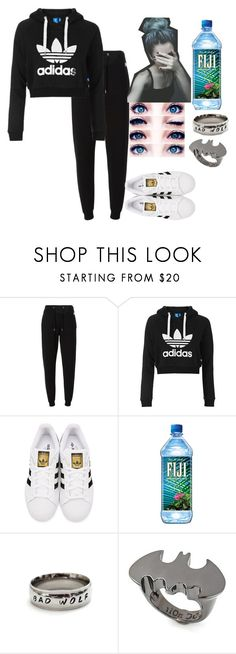 """""""I was watching a horror movie and I got so scared so I somehow came up with this set  """" by coolcat000 ❤ liked on Polyvore featuring Kenzo, Topshop, adidas Originals and Noir"""